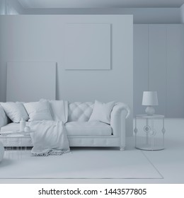 3d illustration. Сozy room interior in white computer stuff