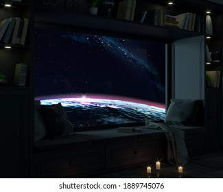 3d illustration. A room with wide window porthole at night and space. Galaxy and planets