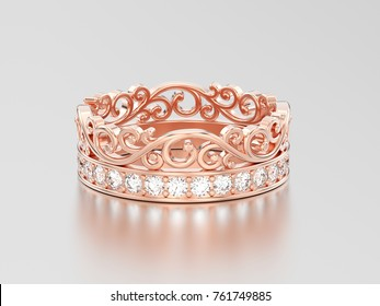3D illustration rose gold  decorative crown diadem diamond ring on a grey background