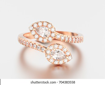 3D illustration rose gold leaflet diamond ring with reflection and shadow on a grey background