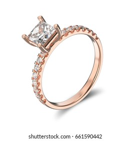 3D illustration rose gold ring with diamond on a white background