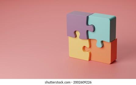 3D-Abbildung Rotierte vier Teile des Konzepts von Puzzle oder Teamwork