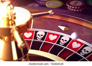 3D illustration of roulette of life or death