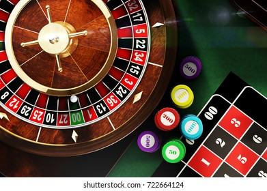 3D illustration of roulette view from above