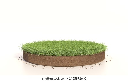 3D Illustration of  round green grass, soil ground, turf. Realistic 3D rendering