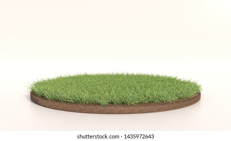 3D Illustration of round green grass, soil ground, turf. Grass circle. Realistic 3D rendering .