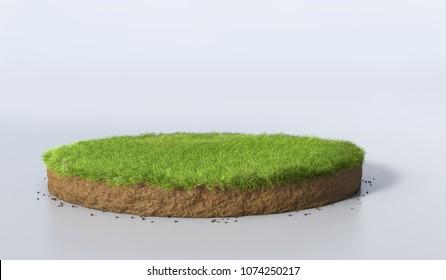 3D İllüstrasyon yuvarlak toprak toprak kesiti toprak toprak ve yeşil çim, gerçekçi 3D render daire kesme arazi zemin ile kaya izole