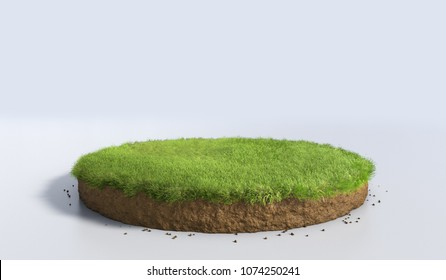 3D Illustration round soil ground cross section with earth land and green grass, realistic 3D rendering circle cutaway terrain floor with rock isolated