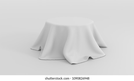 3d illustration of Round table covered with white fabric isolated on white background