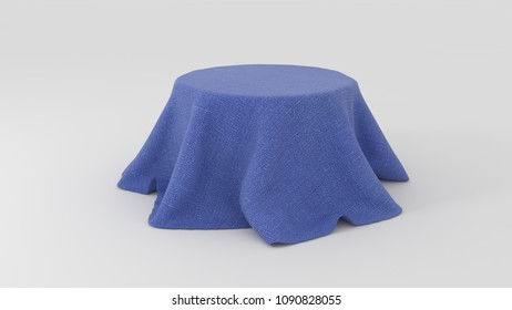 3d illustration of Round table covered with blue fabric isolated on white background