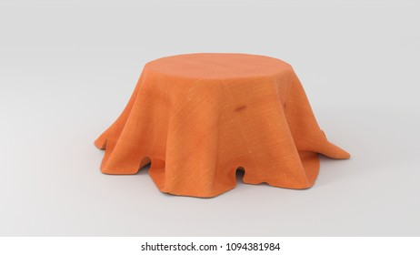 3d illustration of Round table covered with orange fabric isolated on white background