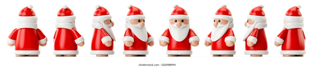 3d illustration of a row of Santa Claus figures