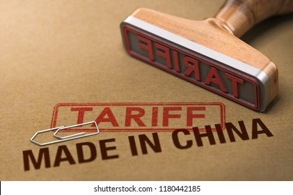 3d illustration of a rubber stamp over cardboard background with the words made in China and tariff. Concept of trade war.