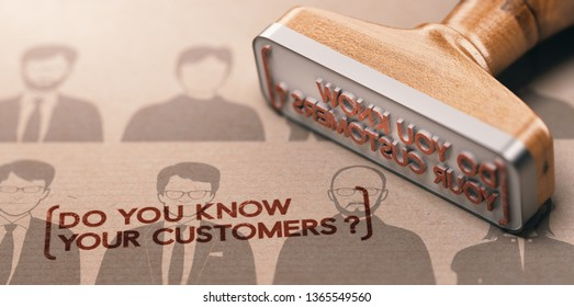 3D illustration of a rubber stamp with the phrase do you know your customers ? KYC or CDD Customer Due diligence Concept.