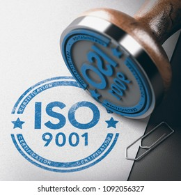 3D illustration of a rubber stamp with the text ISO 9001 certification over paper background.
