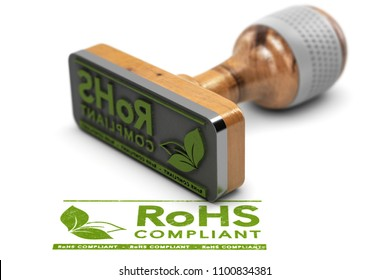 3D illustration of a rubber stamp with the text RoHS Compliant stamped over white background