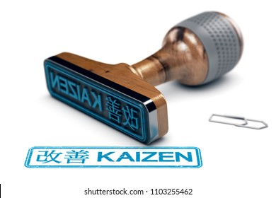 3D illustration of a rubber stamp with the text kaizen in English and Japanese language stamped over white background. Concept of continuous improvement.