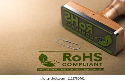 3D illustration of a rubber stamp with the text RoHS Compliant stamped on paper background.