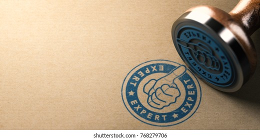 3D illustration of rubber stamp with the text expert and hand with thumb up over brown cardboard background. Concept of good professional moving company or quality removal firm.