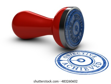 3D illustration of a rubber stamp where it is written objective achieved over white background. Concept of training results