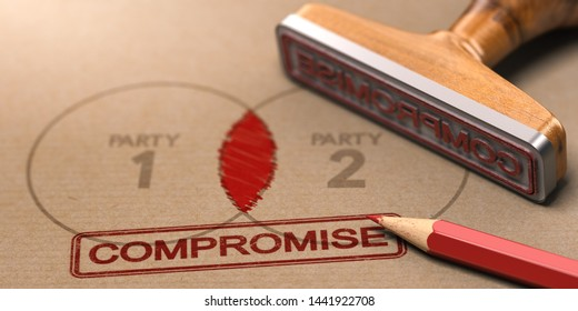 3D illustration of a rubber stamp with the word compromise printed on a brown paper with the text party one and two