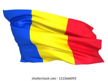 3D illustration of Rumania flag
