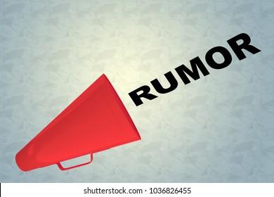 3D illustration of RUMOR title flowing from a loudspeaker