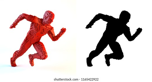3D illustration of running voxel man with alpha mask on white background.