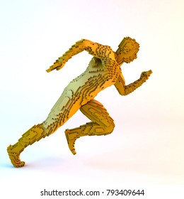 3D illustration of running voxel man on white background