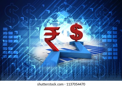 3d illustration rupee dollar network