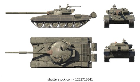 3D illustration of Russian main battle tank T-72