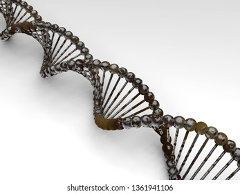 3D illustration - rust on dna helix concept