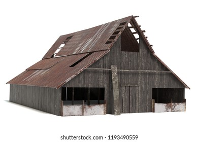 3d illustration of a rustic barn