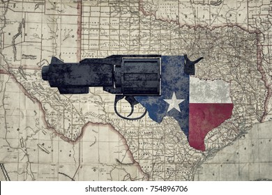 3d illustration of a rusty gun over the Texas rail map