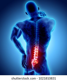 3D Illustration of sacral spine painful, medical concept.