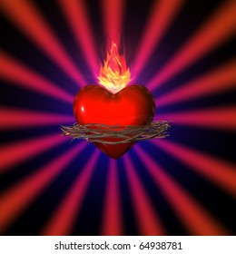 3d illustration of a sacred heart on red background