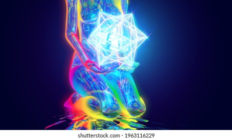3d illustration sacred meditation in the hands of higher powers
