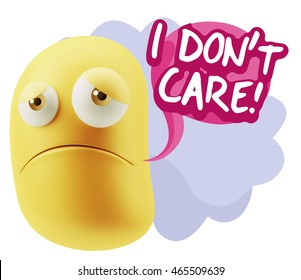 3d Illustration Sad Character Emoji Expression saying I Don't Care with Colorful Speech Bubble.