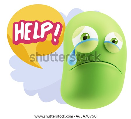 3 d illustration sad character emoji expression stock illustration