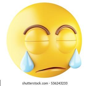 3D Illustration. Sad emoji crying. Emoji symbol. Isolated white background.