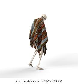 3D Illustration of a Sad skeleton on a white background