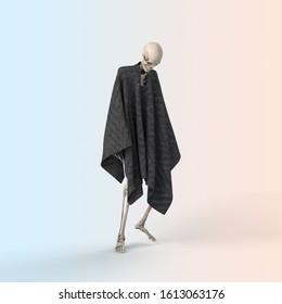 3D Illustration of a Sad skeleton on a color background