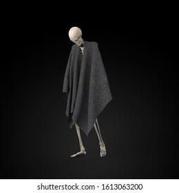 3D Illustration of a Sad skeleton on a black background