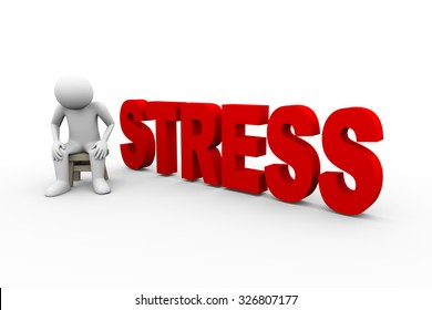 3d illustration of sad upset frustrated man sitting with word text stress. 3d human person character and white people.