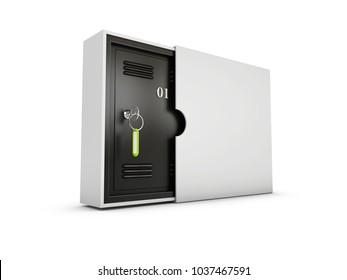 3d Illustration of safe deposit lockboxes isolated white
