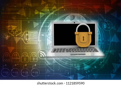 3d illustration Safety concept: Closed Padlock with laptop on digital background
