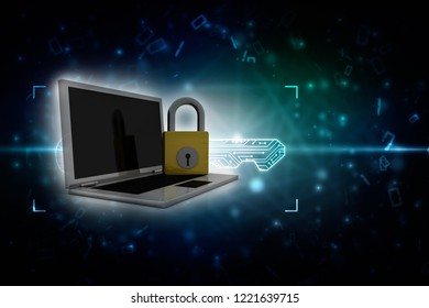 3d illustration Safety concept: Closed Padlock with computer pc on digital background
