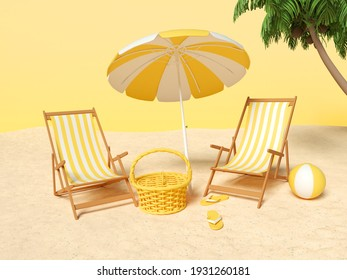 3d illustration. Sand with chair and Beach umbrella and summer elements. Summer vacation concept.