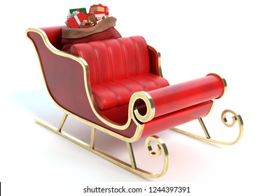 3d illustration of a Santa sleigh