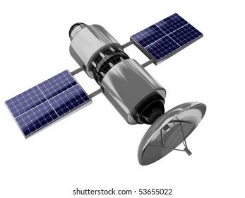 3d illustration of satellite isolated over white background